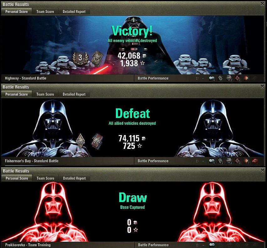 Darth Vader Battle Results